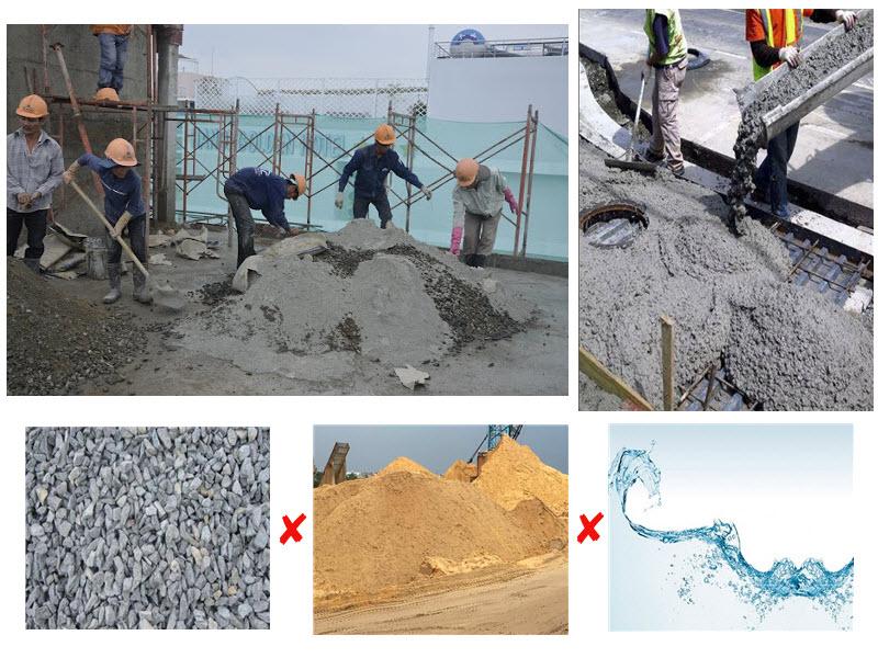 Trộn bê tông trong xây dựng